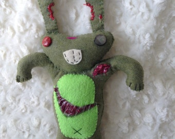 Moss Green and Bright Green Felt Zombie Bunny Toy with Bitten Ears, Scars, and Flesh Wounds