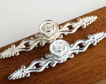 "5"" 6.3"" Shabby Chic Flower Knobs Dresser Drawer Pull Handles Kitchen Cabinet Knob French Cupboard White Gold Silver 128 160 mm ARoseRambling"