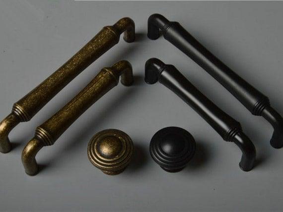3 75 5 Black Antique Brass Knobs Dresser Knob By Aroserambling