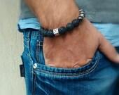 Black Lava Stone and Hematite Bracelet / Silver Accent Men's Bracelet / Men's Beaded Bracelet / Unisex Bracelet / Natural Stone Bracelet