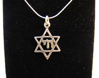 Sterling .925 Silver Necklace Chai Jewish Symbol with David Star -  Magen David