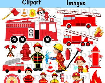 Firefighter Digital Clipart, INSTANT DOWLOAD Fireman boys Clip art, Fire truck Clipart for Personal and Commercial Use