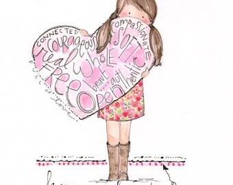 Personalized kids art - Encouraging girls art - Kids wall art - Girls bedroom art - Hand lettered art print - Inspirational little girls art