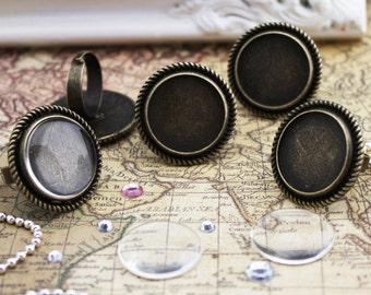 10 of Victorian Rings Kits, Blank Ring Settings, 20mm Glass Cabochons, Circle, Adjustable, Antique Bronze