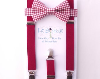 Red Bow Tie and Suspenders: Red Gingham Bow Tie, Red Suspenders, Toddler Suspenders, Kids, Boys, Apple, Cranberry, Ring Bearer Gift