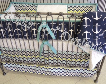 "Crib Set Navy & Aqua Nautical/Chevron: ""Lucas"""