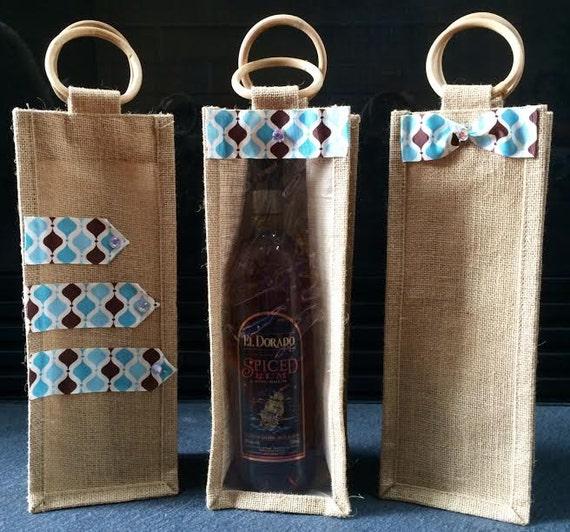 Wine gift bag burlap jute bags set of make your
