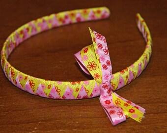 Yellow and Pink Flower Headband