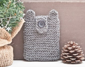 Bear iPhone X Case, Knitted samsung galaxy s6 edge case, Phone Case, Gray iPhone 8 Plus case, iPhone sock, Bear iPhone 6 Plus case