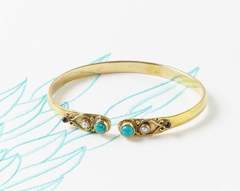 Turquoise Bangle, Turquoise Bracelet, Ethnic Gemstone Bangle, Semi Precious Brass Bangle, Pearl, Unique Bangle, JB036