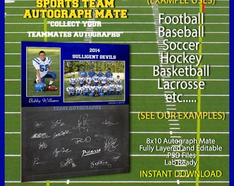 Sports Team Autograph Signature 8x10 Photoshop Template for Baseball Football Soccer Basketball Lacrosse Hockey Cheerleading Everything Else