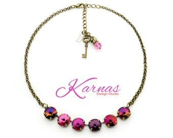 FIRE PINKS 12mm Crystal Rivoli Necklace Made With Swarovski Elements *Pick Your Finish *Karnas Design Studio *Free Shipping*
