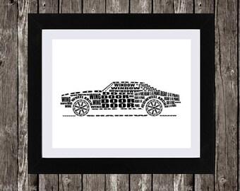 "Chevrolet Camaro Art, Chevy Camaro, Classic Car, Muscle Car Art, Garage Art, 1969 Camaro, Digital Download, Typography, 14 x 11"""