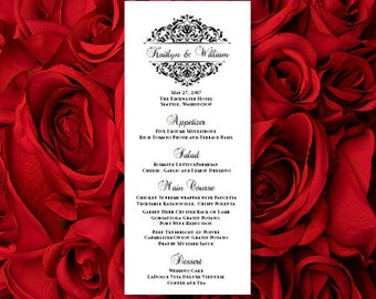 "Wedding Menu Card ""Grace"" Black & White Printable Template Editable Word.doc Instant Download ALL COLORS Available DIY You Print"