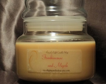Scented Soy Candle 10oz. double wicked Frankincense and Myrrh Brown