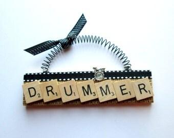 Drummer Scrabble Tile Ornament