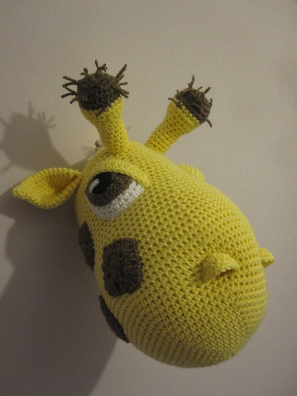 Crochet Trophy Head Wall Hanging Faux Taxidermy Home Decor Giraffe ...