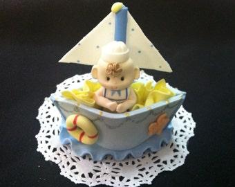NAUTICAL CAKE TOPPER, Nautical Favor, Sailor Birthday, African American Sailor Boy, Sailor Favor, Sailboat Cake topper, Nautical Baby Shower
