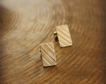 Recycled Cymbal Bronze Cuff Links - Bronze or Silver Fixed Backing