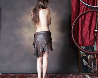 Mon Cheri - Deer Skin Brown Leather Skirt - Deerskin Elven Elf Garment