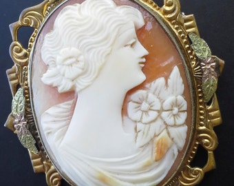 Antique marked  Allco carved shell,  made of GF cameo pendant, locket, brooch from 1910s