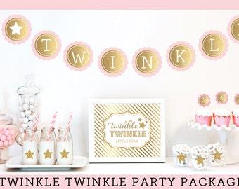 Twinkle Twinkle Little Star Baby Shower Decorations Twinkle Twinkle Little Star Theme Twinkle Baby Shower Package  (EB4011TW)
