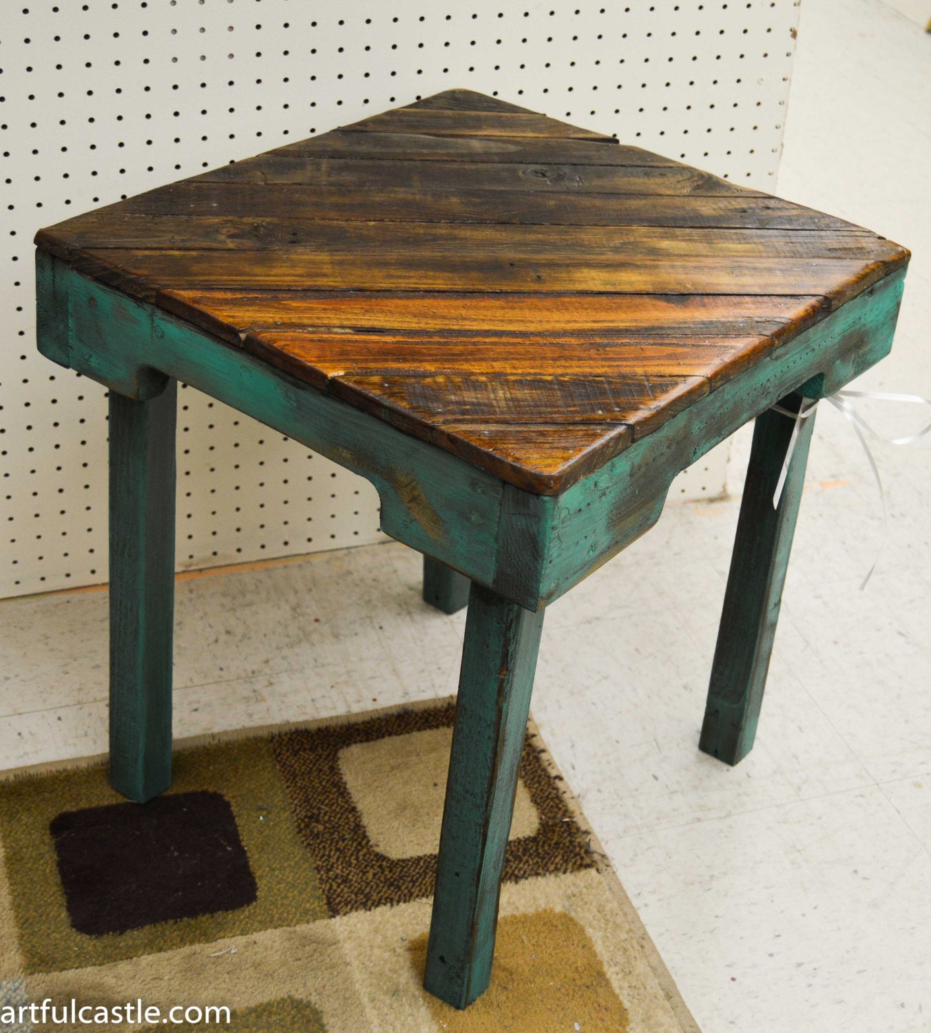 Turquoise Reclaimed Wood Side Table By Artfulcastle On Etsy