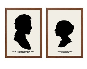 JANE EYRE | I Conscientiously Believe So Poster : Jane + Mr Rochester Modern Illustration Classic Movies Retro Art Wall Decor
