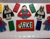 PERSONALIZED Lego Superhero INSPIRED Cookies