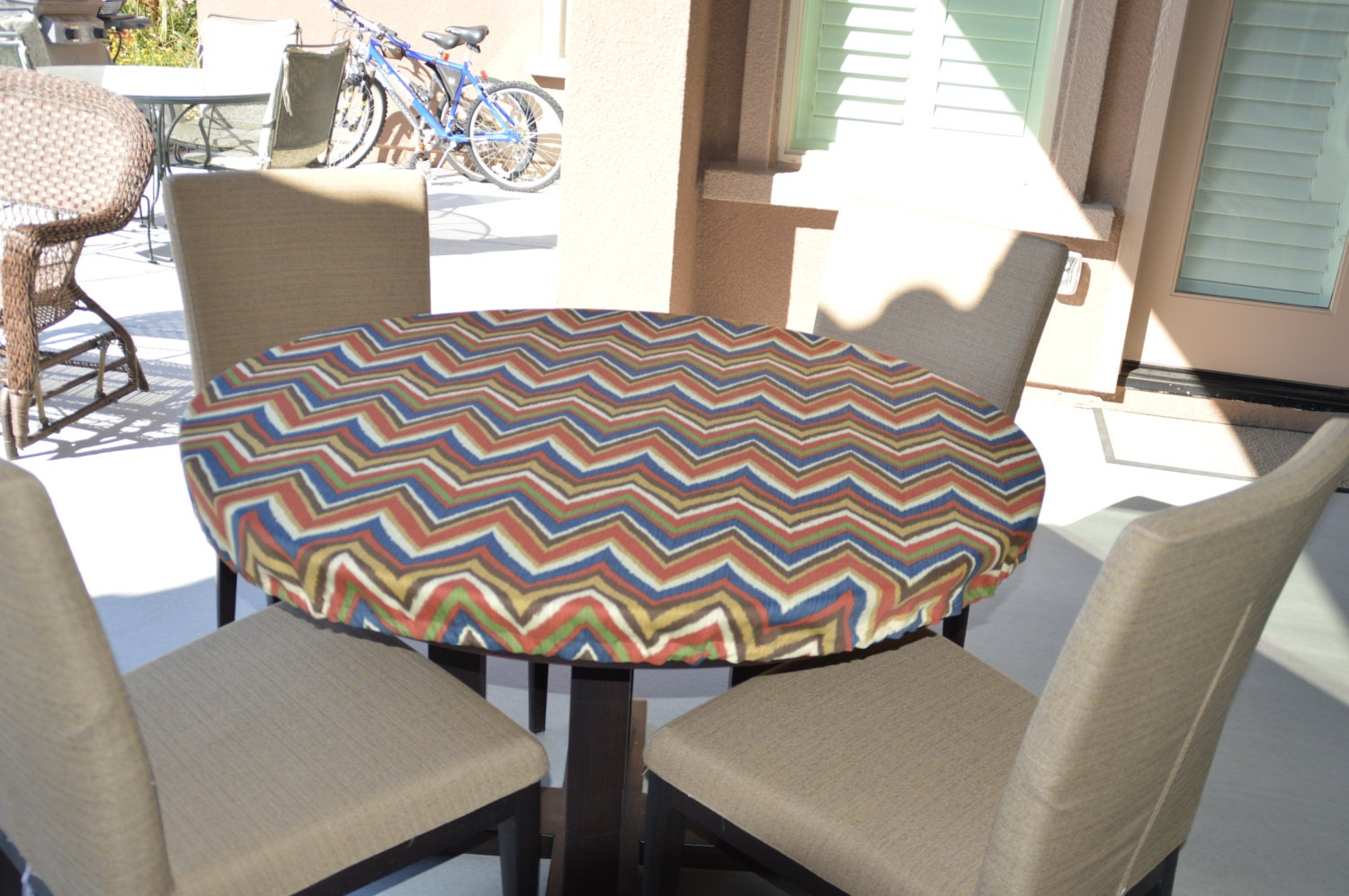 Round Kitchen Table Cloth Round Fitted Tablecloth Outdoor Fabric Elastic Or