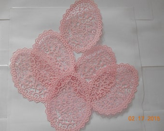 6 pretty pink lacy egg die cuts