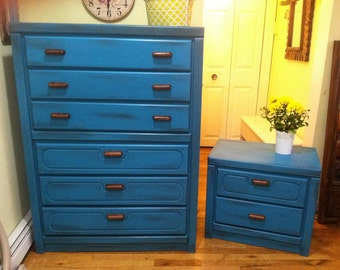 SOLD***Vintage Cobalt Blue /Teal/Blue Tall dresser with matching nightstand