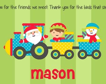 Personalized Placemat - Kids Laminated Placemat - Childrens Placemat - Christmas Placemat - Kids Holiday Placemat - Santa Train Boy / Girl