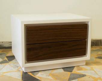 Walnut and white bedside table