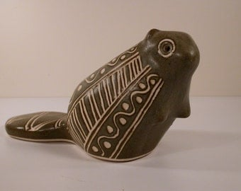 Strawberry Hill, Mid Century Stylized beaver art pottery sculpture.