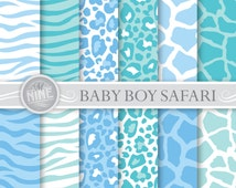 BABY BOY SAFARI Digital Paper: Baby Pattern Prints, Instant Download, Baby Patterns Scrapbook Print