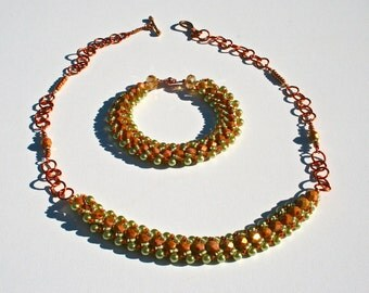 Copper and Bead Necklace and Bracelet