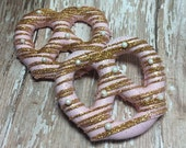 12 Pink and Gold Pretzel Twists Wedding Favors Birthday Party Sweets Table Candy Buffet Baby Bridal Shower Favor