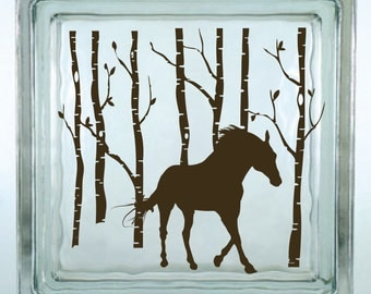 Horse in the Aspens Decorative Glass Block Decal / Vinyl Decal