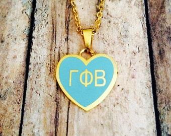 Gamma Phi Beta LIMITED EDITION Enamel Heart Necklace | Gamma Phi Beta Necklace | Sorority Necklace | Gamma Phi Beta Heart | Heart Necklace
