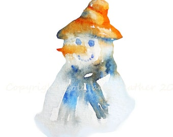 Holiday Clip Art  Snowman  Watercolour  Christmas Clipart