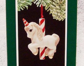 Hallmark Keepsake Christmas Ornament – 1989 MIB, Merry-Go-Round Unicorn – QX4472