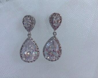 Vintage Inspired Long Crystal Bridal Earrings, Bridal Earrings, Dangle Earring