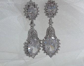 Vintage Inspired Long Crystal Bridal Earrings, Bridal Earrings, Dangle Earrings