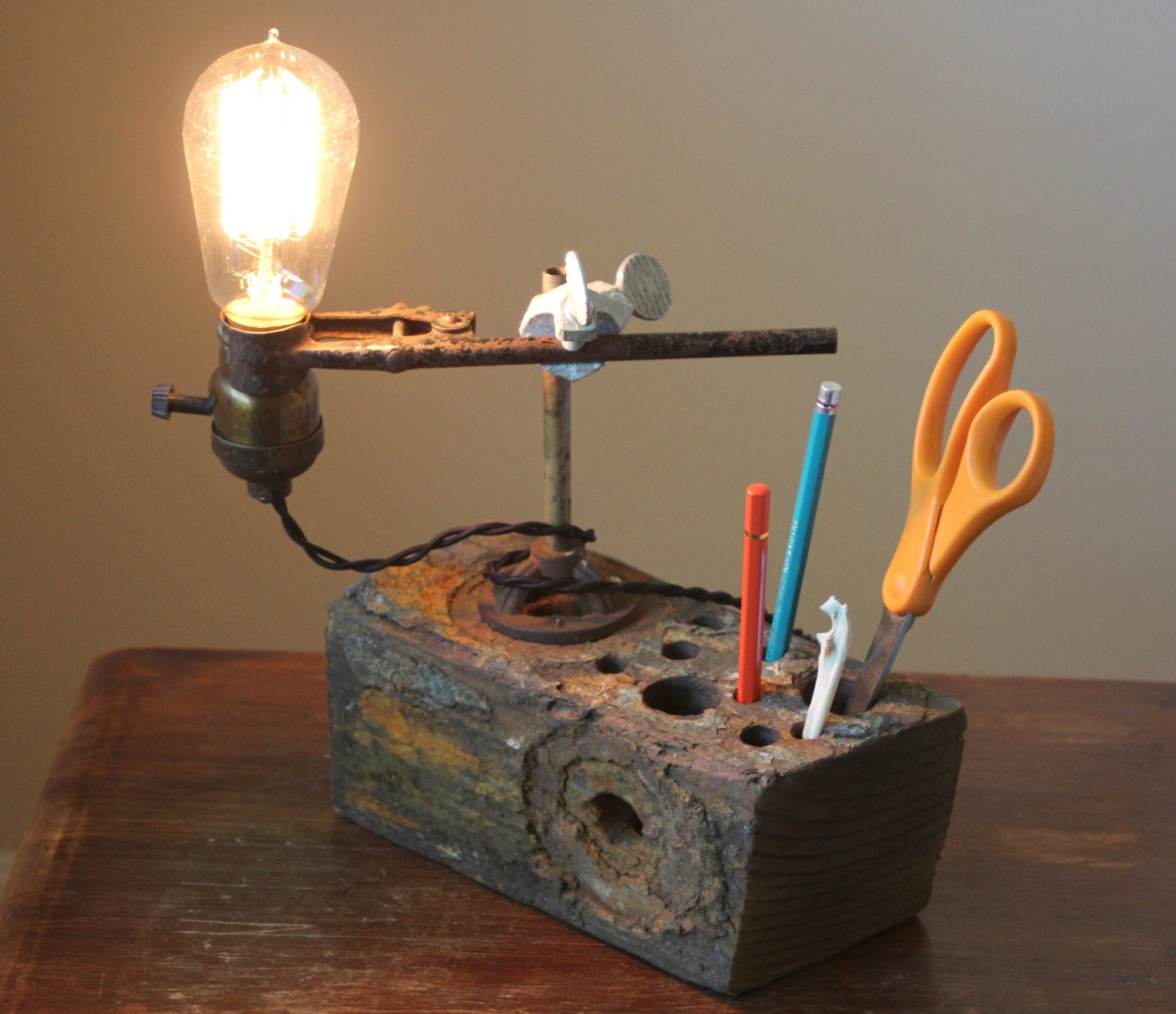 Industrial Desk Lamp Rustic Wood Desk Organizer Desk