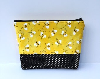 Bees Makeup Bag/Bumblebee Makeup Bag/Bees Cosmetic Bag/Bees Travel Bag/Bees Accessories Bag/Zipper Pouch/Ready to Ship