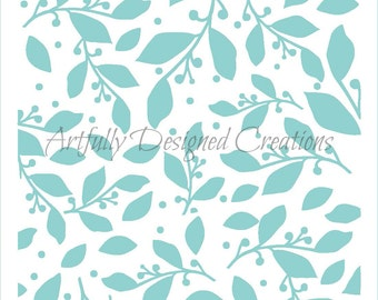 Branches and Leaves Background Stencil
