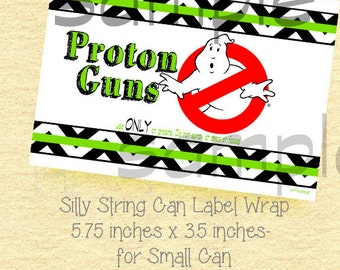 GHOSTBUSTER Birthday Label for Silly String-YOU PRINT