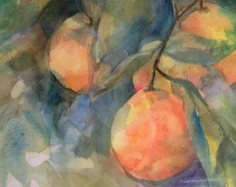 Oranges on Tree Original Watercolor Painting
