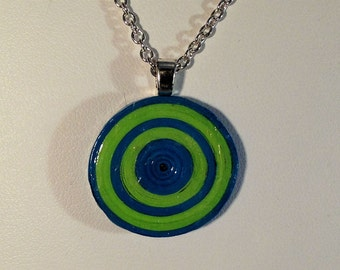 Coiled Paper Necklace Pendant Blue and Green Handmade 041